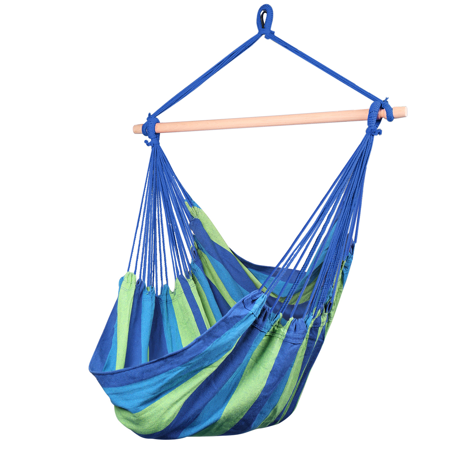 Details About Brazilian Hammock Chair, Cotton Weave Porch Swing W/ Spreader Bar, Jungle Blue Intended For Cotton Porch Swings (View 3 of 25)