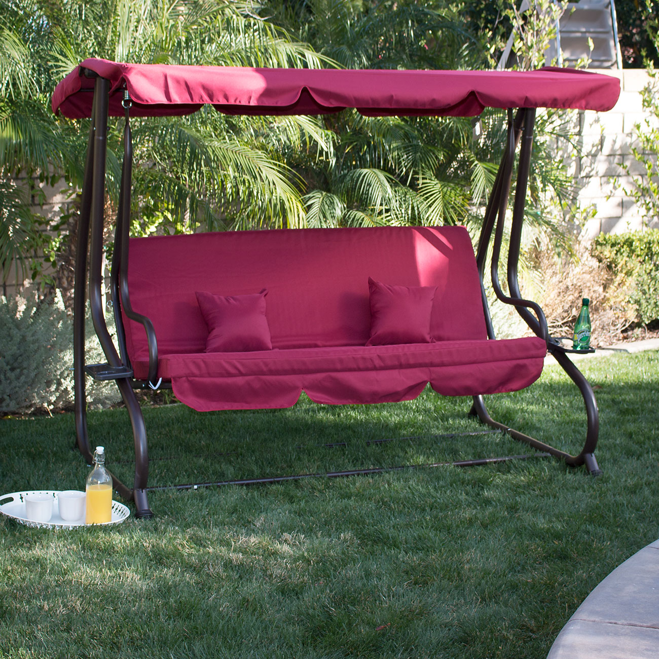 Details About Burgundy Outdoor Canopy Swing Motion Gilder Converting  Rocking Chair Uv Blocker In Canopy Patio Porch Swings With Pillows And Cup Holders (View 23 of 25)