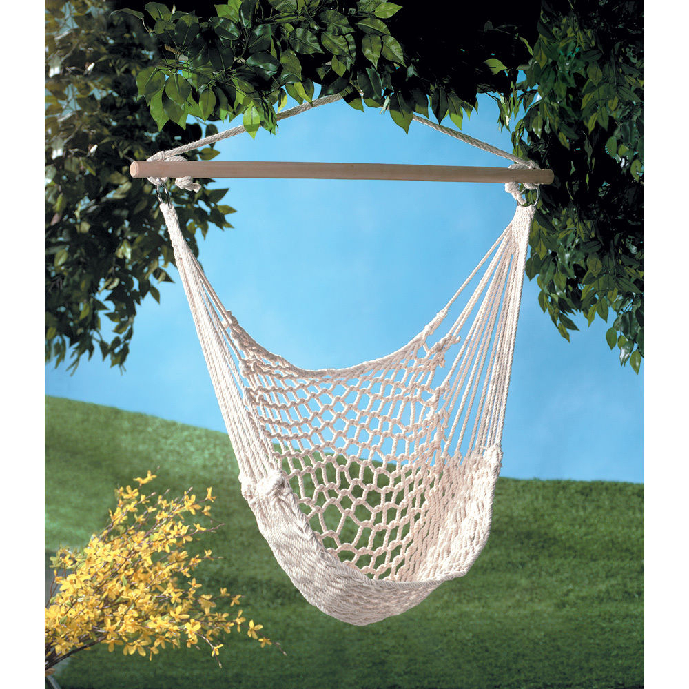 Details About Cotton Rope Hammock Hanging Chair Porch Swing Seat Patio Yard Camping Beige With Regard To Cotton Porch Swings (View 8 of 25)