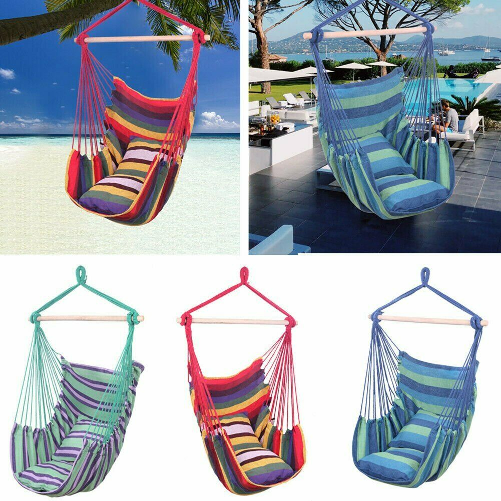 Details About Deluxe Hanging Rope Chair Porch Swing Yard Garden Patio Hammock Cotton Outdoor In Cotton Porch Swings (View 19 of 25)
