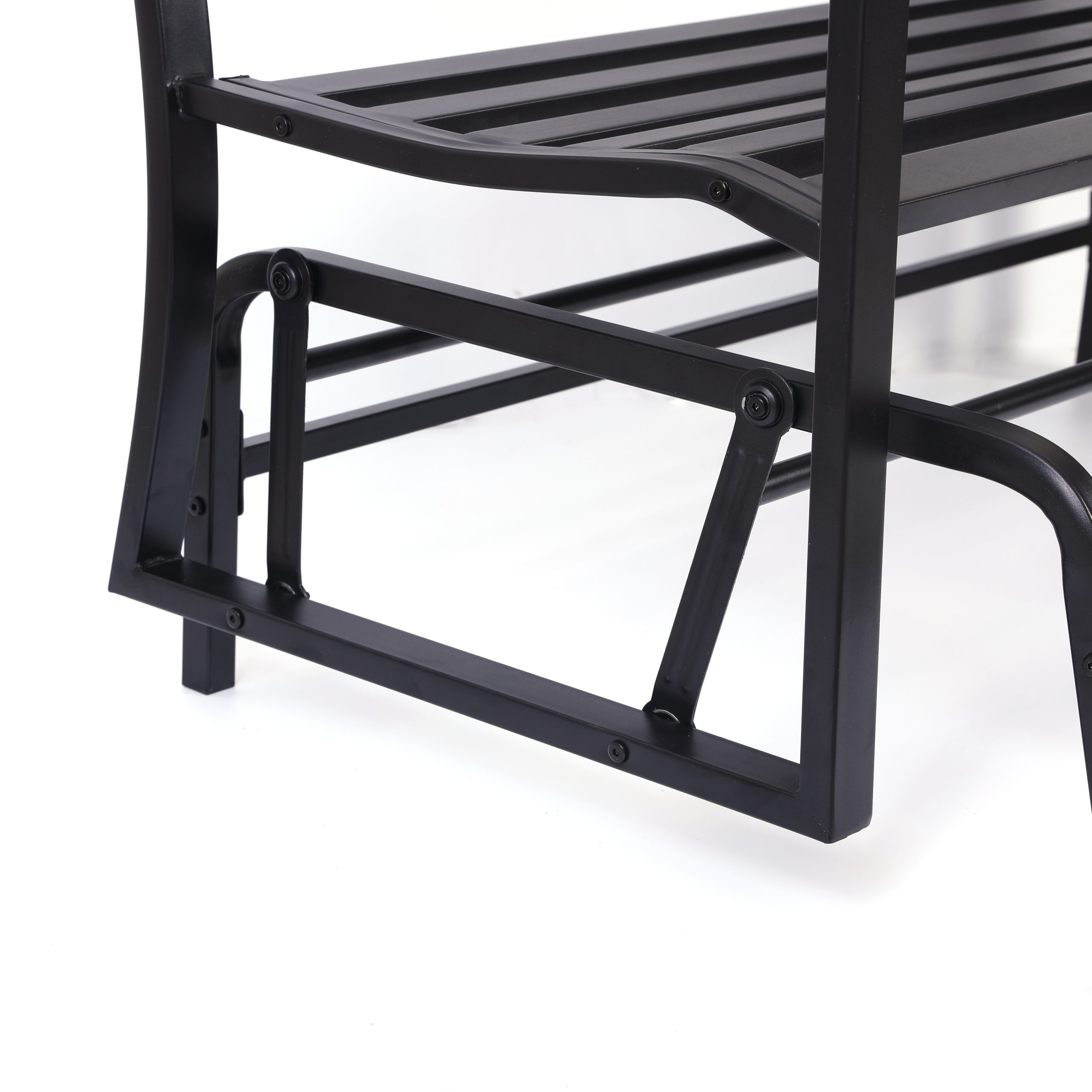 "Details About Gardenised Black Steel Patio Garden Park Yard 50"" Outdoor  Swing Glider Bench Intended For Black Steel Patio Swing Glider Benches Powder Coated (Image 9 of 25)"