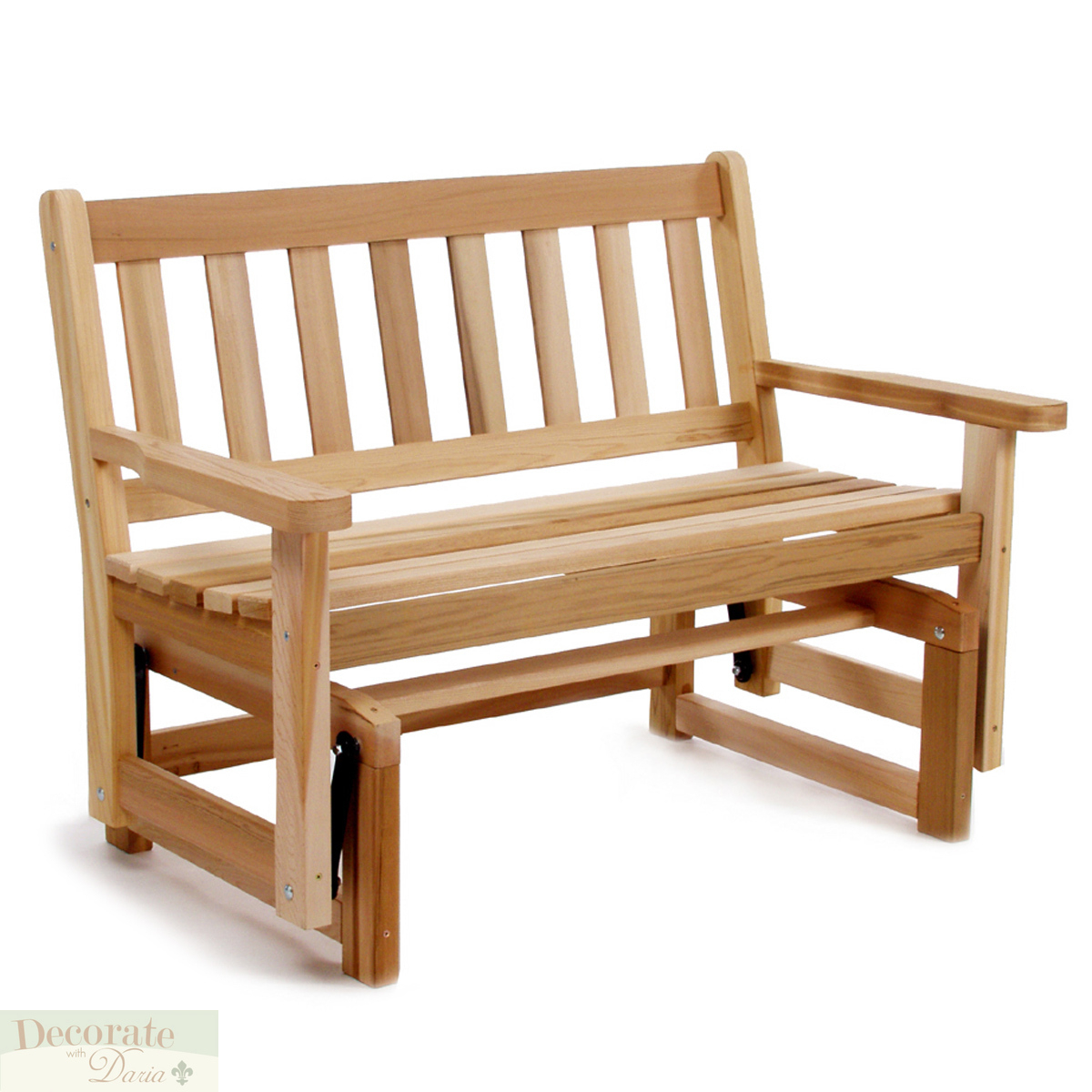 """Details About Glider Bench Motion 48"""" Red Cedar Handcrafted Curved Seat  Shaker Style Back New With Regard To 2 Person Natural Cedar Wood Outdoor Gliders (Image 12 of 25)"""