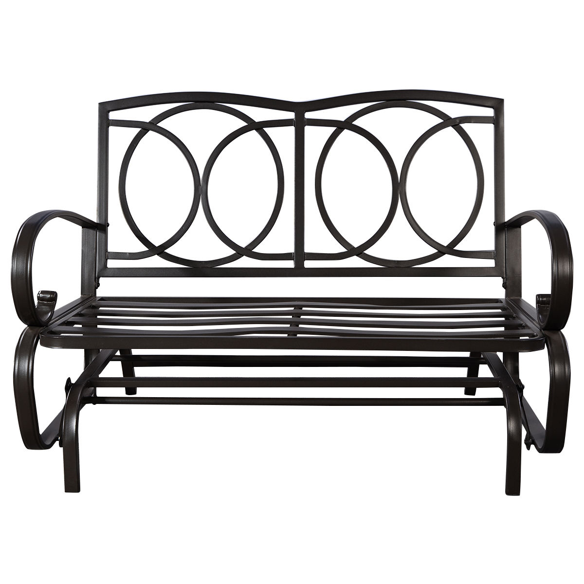 Details About Glider Outdoor Patio Rocking Bench Loveseat Cushioned Seat  Steel Frame Furniture Within Black Outdoor Durable Steel Frame Patio Swing Glider Bench Chairs (Image 9 of 25)