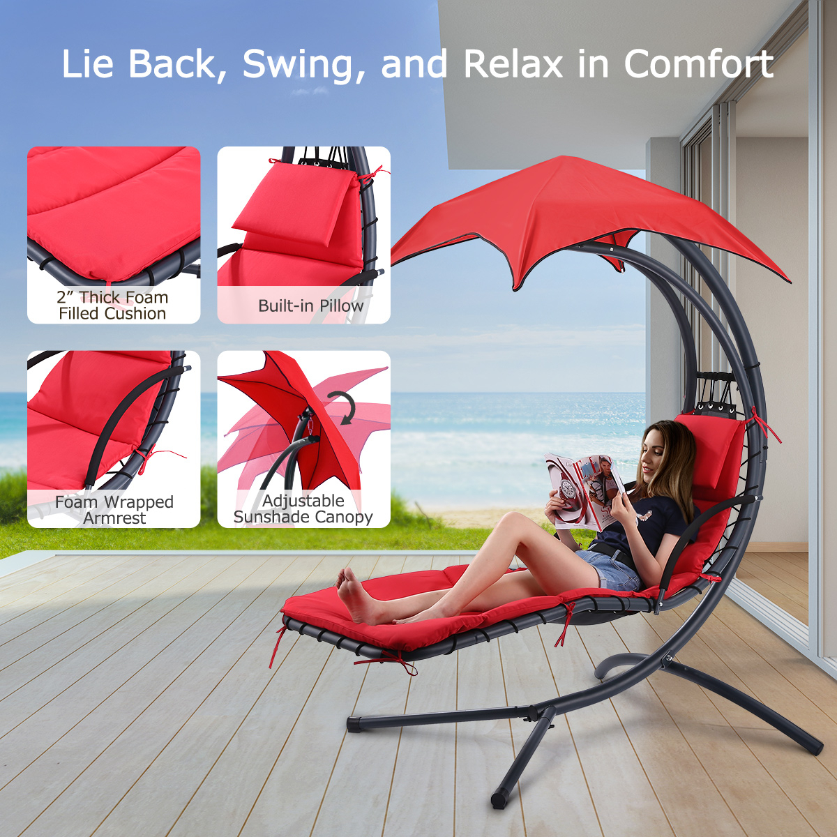 Details About Hammock Hanging Chair Lounge Chaise Indoor Outdoor Yard Patio Canopy Sun Shade Intended For Garden Leisure Outdoor Hammock Patio Canopy Rocking Chairs (View 19 of 25)