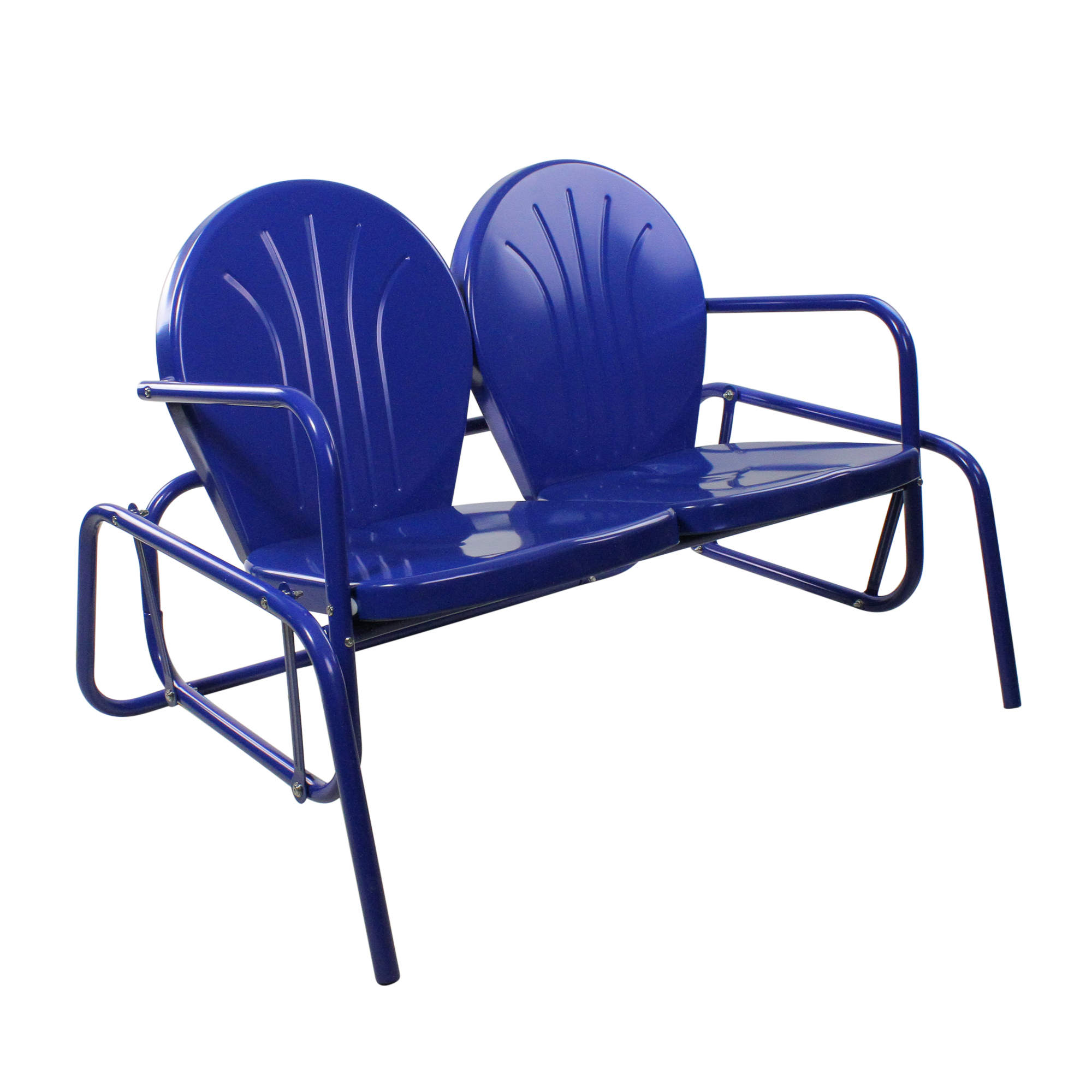 """Details About Lb International 41"""" Electric Blue Retro Metal Tulip Outdoor Double Glider Pertaining To Outdoor Retro Metal Double Glider Benches (View 8 of 25)"""