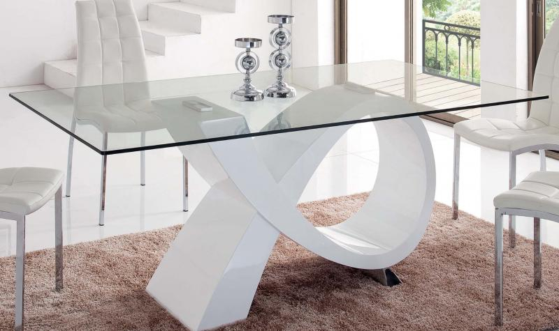 Details About Modern Rectangular Glass Top High Gloss Finish White Dining Table Esf 989 With Regard To Contemporary Rectangular Dining Tables (View 2 of 25)