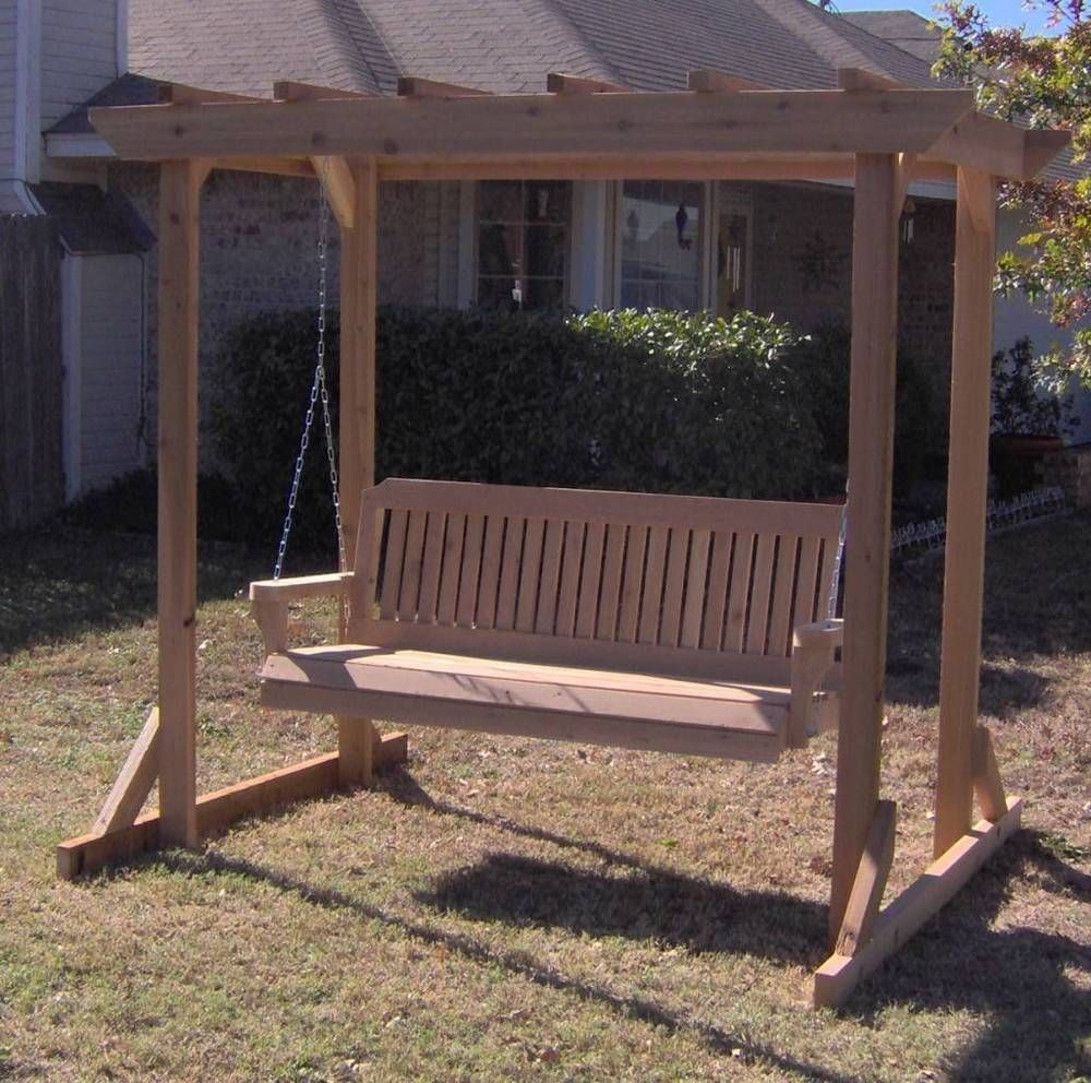 Details About New All Cedar Garden Arbor & 5 Foot Porch With Regard To 5 Ft Cedar Swings With Springs (View 3 of 25)