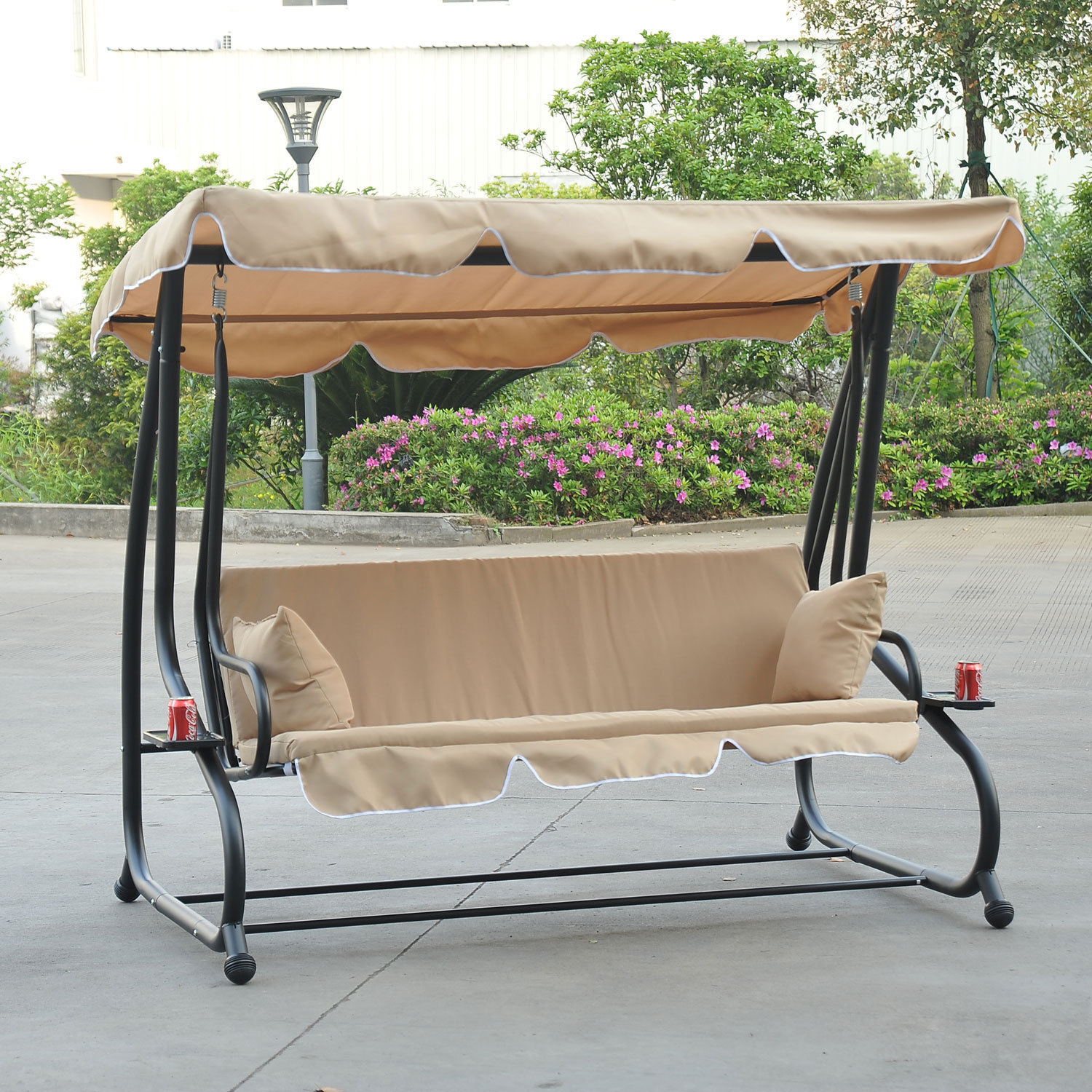 Details About Outdoor 3 Person Patio Porch Swing Hammock Bench Canopy Loveseat Convertible Bed Regarding Porch Swings With Canopy (View 24 of 25)