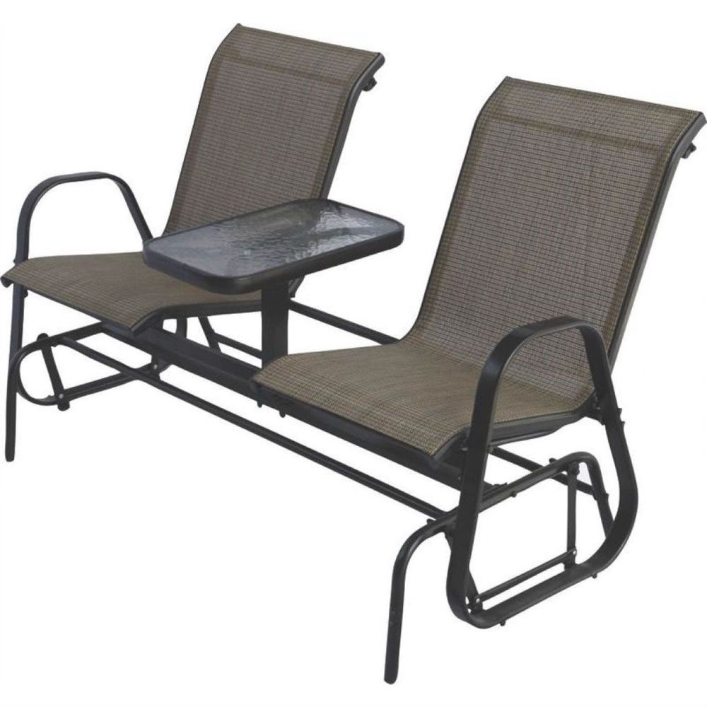 Details About Outdoor Gliders 2 Seat Double Glider Wood With With Regard To Padded Sling Double Gliders (View 24 of 25)