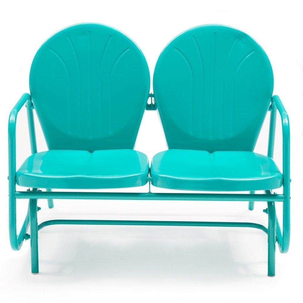 Details About Outdoor Loveseat Glider Vintage Retro Patio With Metal Retro Glider Benches (Image 3 of 25)