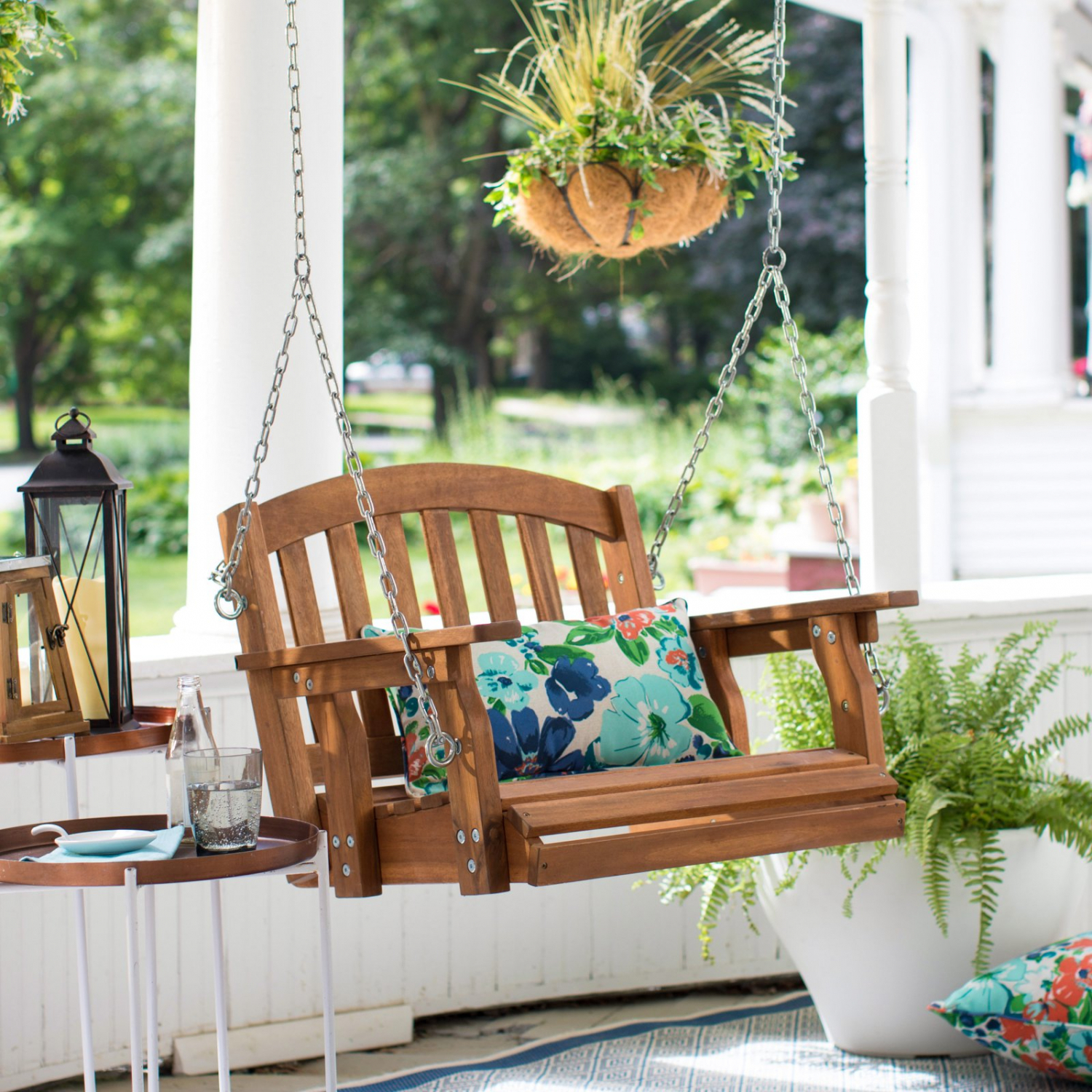 Details About Outdoor Wooden Porch Swing Hanging Chair Single Seat  Furniture Tree Backyard New Regarding Plain Porch Swings (View 22 of 25)