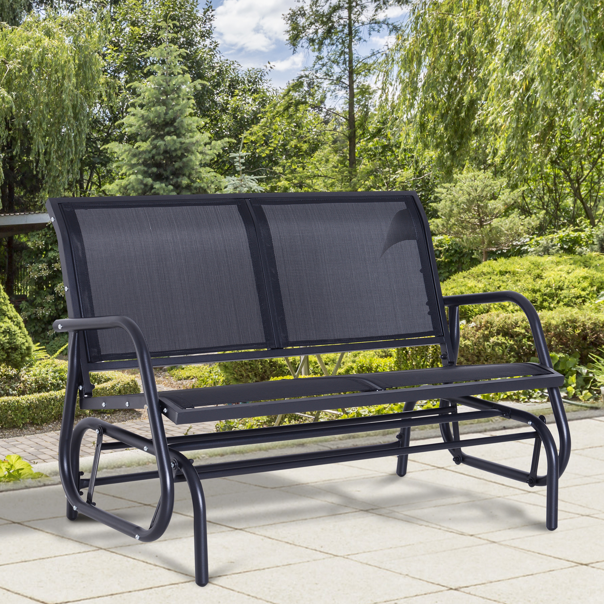 Details About Outsunny 2 Person Patio Glider Bench Swing Chair Garden Mesh  Rocker Steel Black Intended For 2 Person Black Steel Outdoor Swings (View 11 of 25)