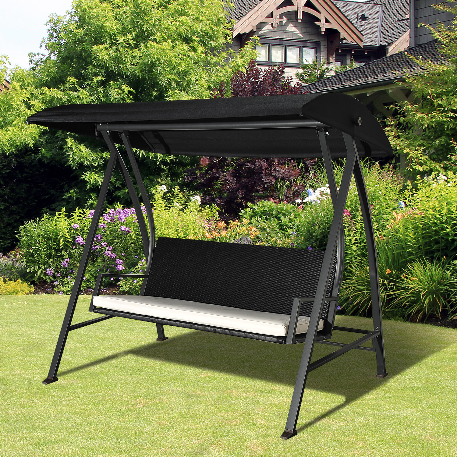 Details About Outsunny Outdoor Garden Rattan Swing Chair Swinging Hammock 3 Seater Bench For Rattan Garden Swing Chairs (View 19 of 25)