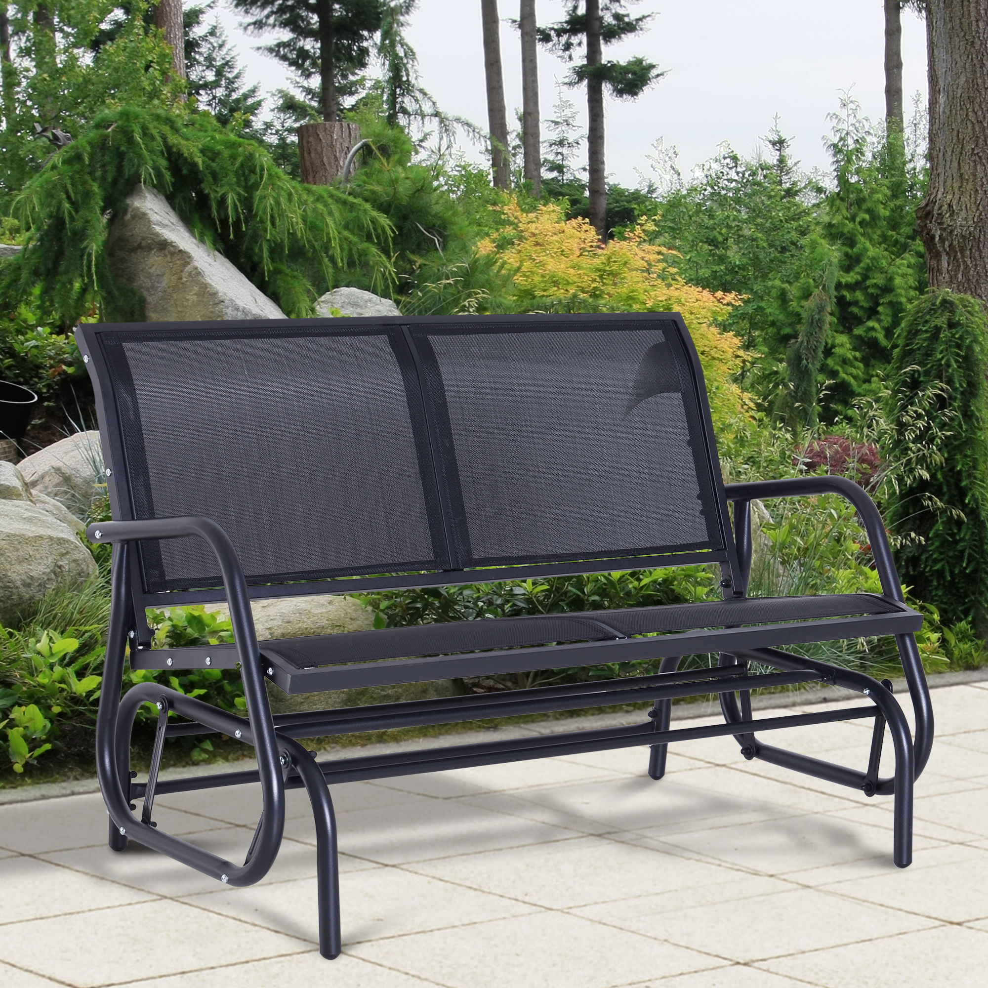 Details About Outsunny Patio Garden Glider Bench 2 Person Double Swing Chair Rocker Deck Black Throughout Sling Double Glider Benches (View 18 of 25)