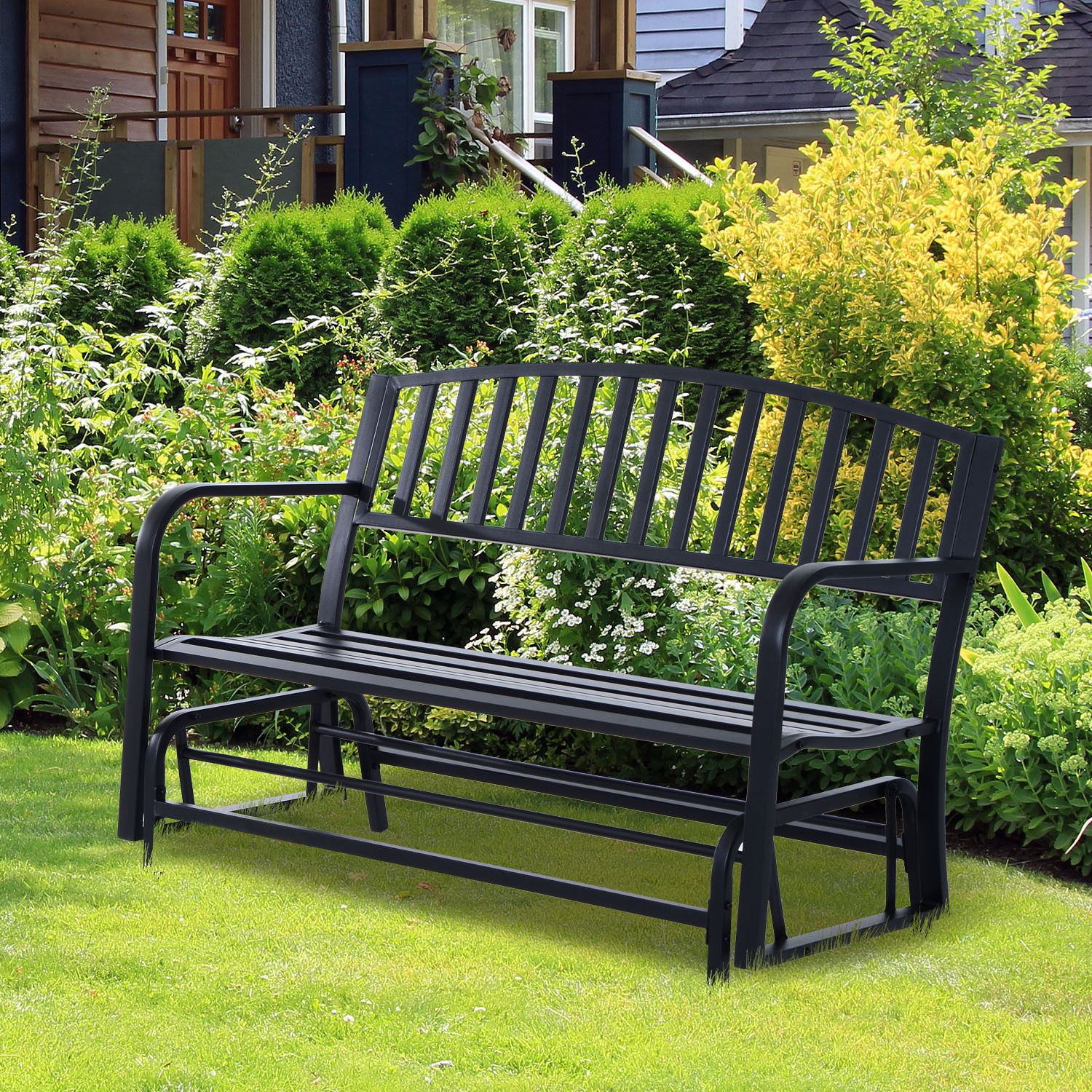 Details About Patio Garden Glider 2 Person Outdoor Porch Bench Rocking  Chair Yard Furniture For 2 Person Antique Black Iron Outdoor Gliders (Image 14 of 25)