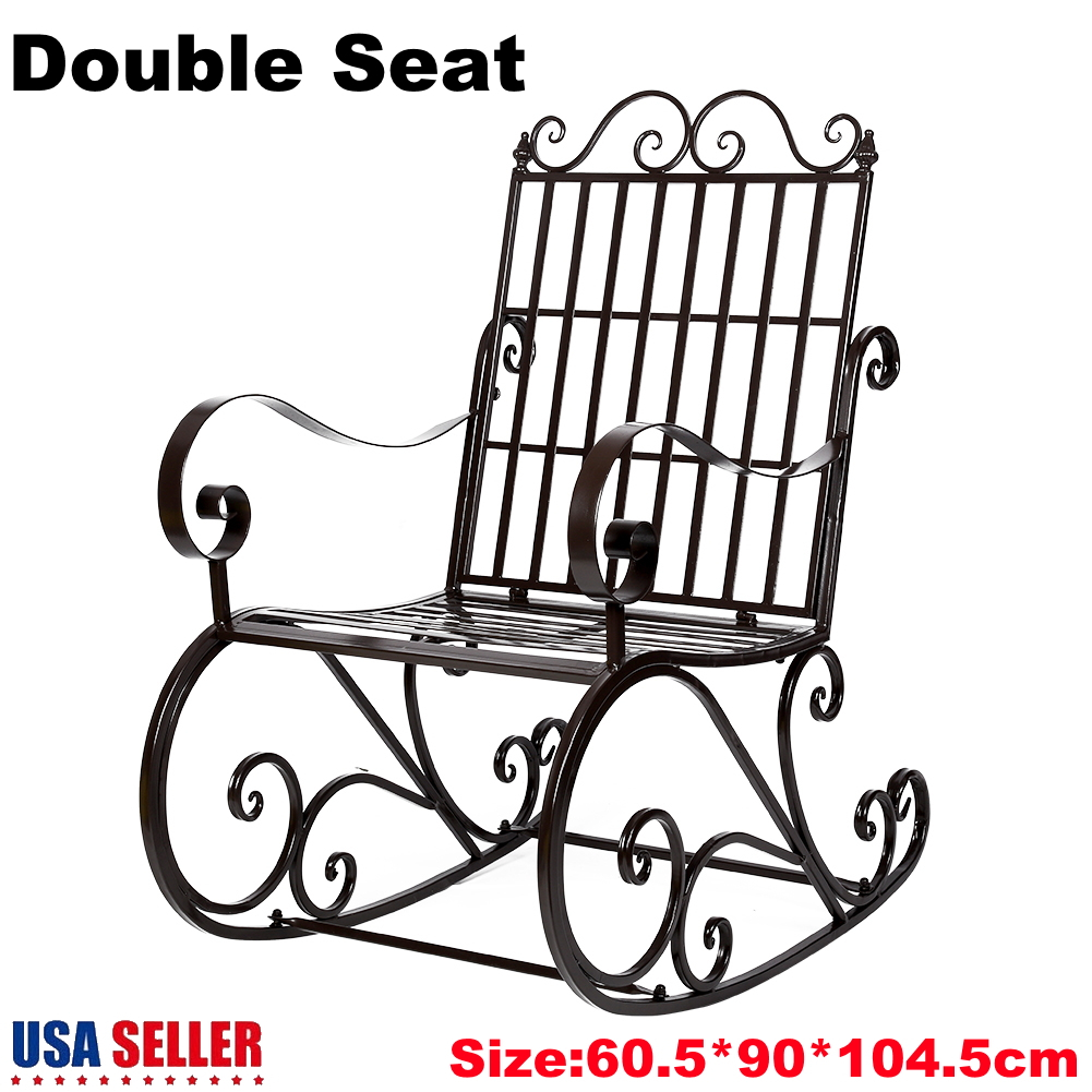 Details About Patio Garden Glider 2 Person Swing Bench Rocking Chair Porch Outdoor Furniture Within Twin Seat Glider Benches (View 20 of 25)