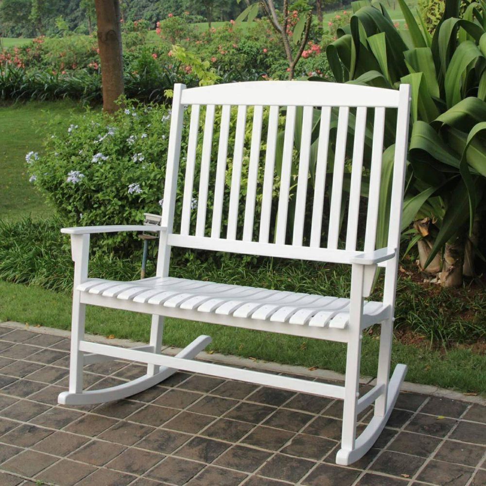 Details About Patio Glider Rocking Chair Bench Loveseat 2 With Regard To 2 Person White Wood Outdoor Swings (View 9 of 25)