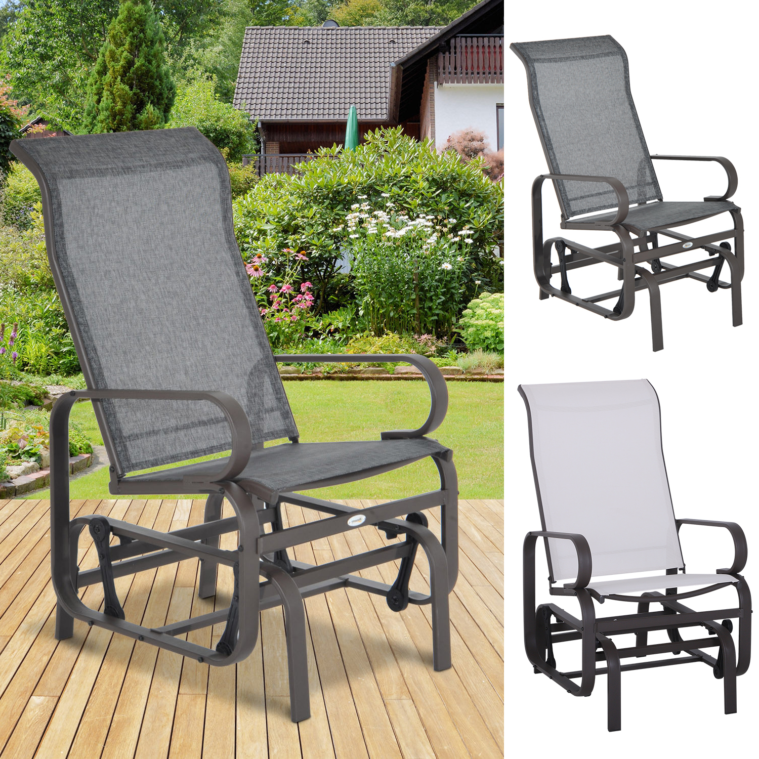 Details About Patio Sling Fabric Glider Swing Chair Seat Lounger Porch Rocker Outdoor Garden Pertaining To Outdoor Fabric Glider Benches (View 9 of 25)