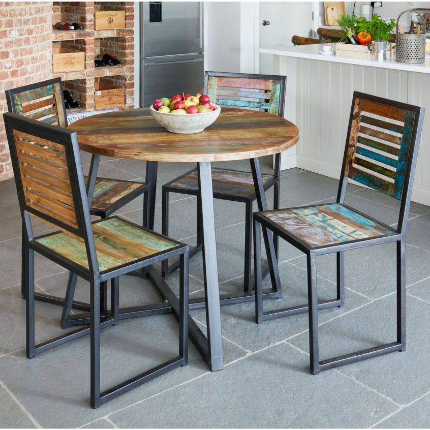 Details About Reclaimed Wood Furniture Round Dining Table Regarding Small Round Dining Tables With Reclaimed Wood (View 7 of 25)