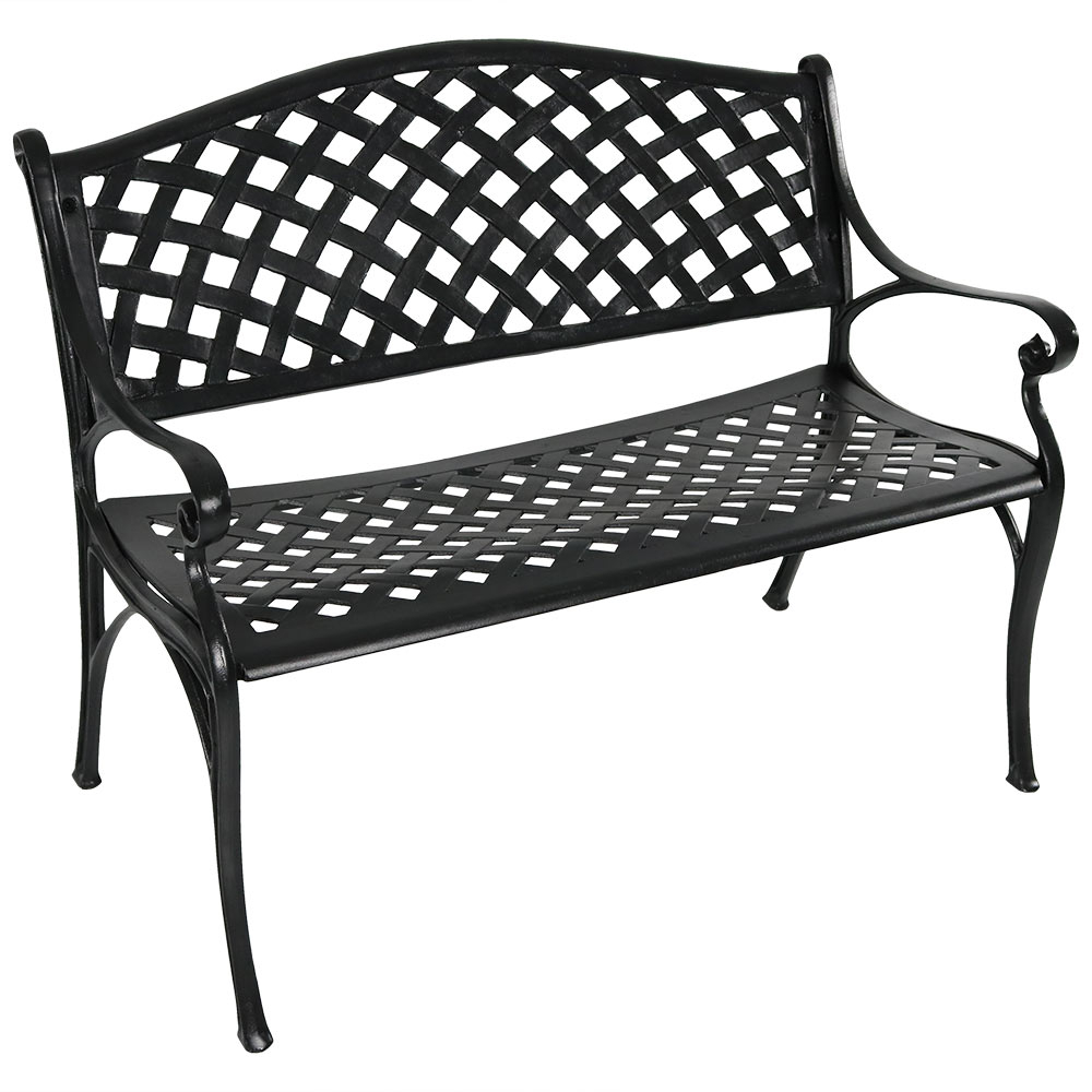 Details About Sunnydaze 2 Person Black Checkered Cast Aluminum Outdoor  Patio Garden Bench In 2 Person Antique Black Iron Outdoor Gliders (Image 15 of 25)