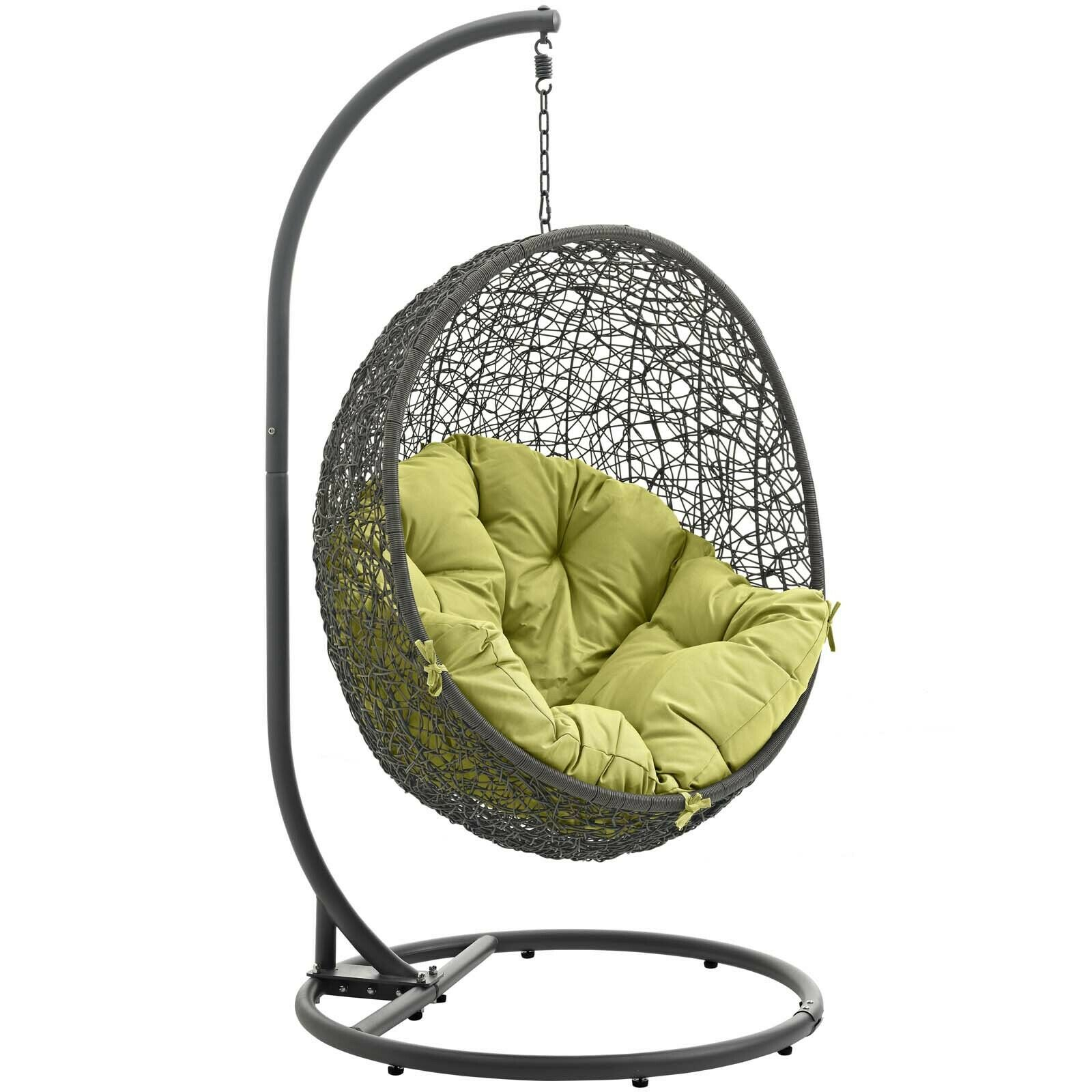 Details About Wicker Rattan Outdoor Patio Hanging Swing Porch Chair W/ Stand In Gray Peridot In Wicker Glider Outdoor Porch Swings With Stand (View 23 of 25)