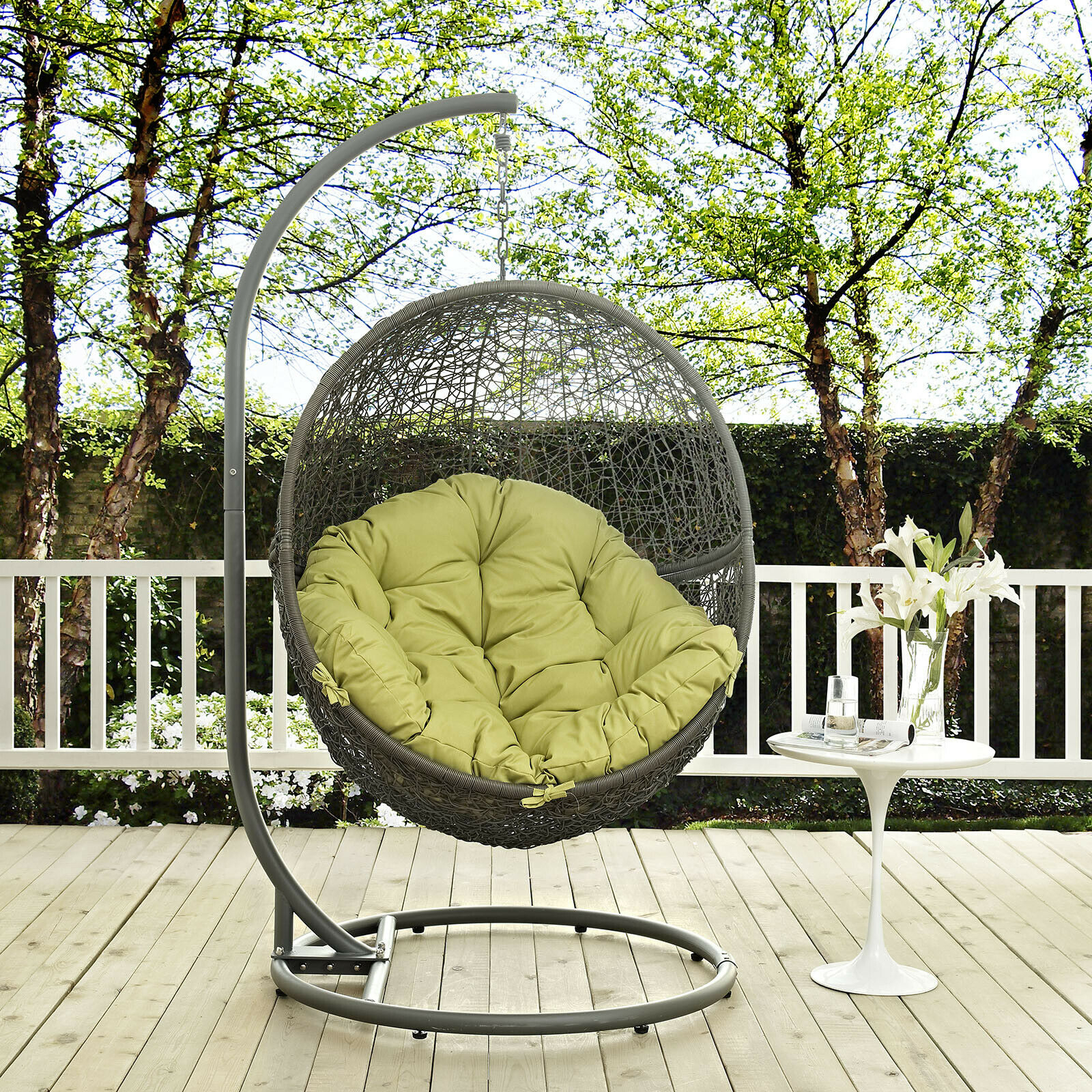 Details About Wicker Rattan Outdoor Patio Hanging Swing Porch Chair W/ Stand In Gray Peridot In Wicker Glider Outdoor Porch Swings With Stand (View 7 of 25)