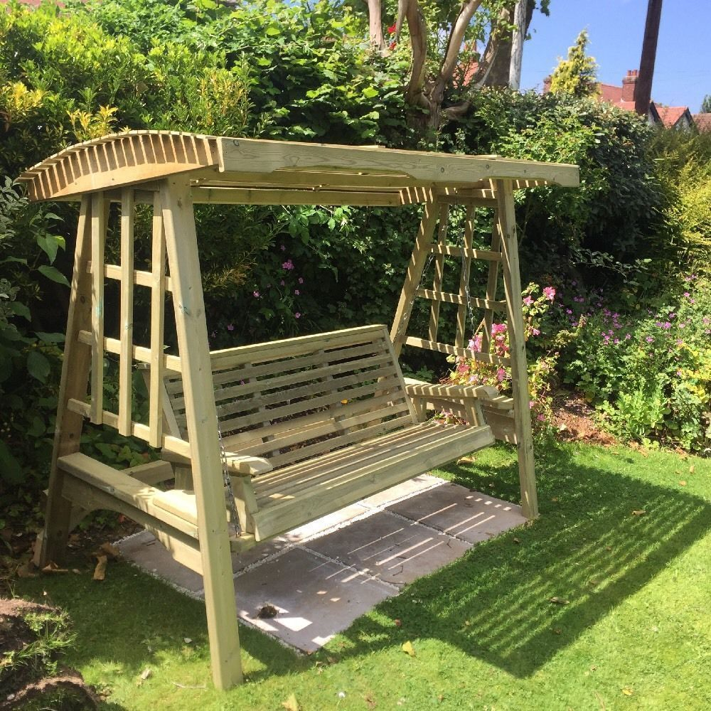 Details About Wooden Garden Swing Adult Swing Seat Hammock With 3 Seat Pergola Swings (View 2 of 25)
