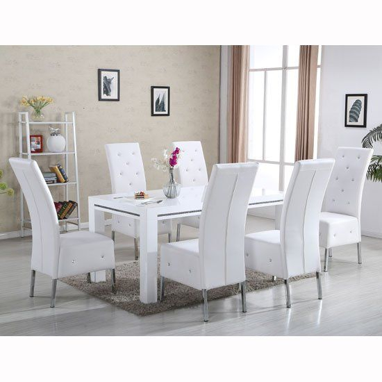 Diamante Dining Table In White High Gloss With 6 Asam Chairs Within Faux Marble Finish Metal Contemporary Dining Tables (View 18 of 25)