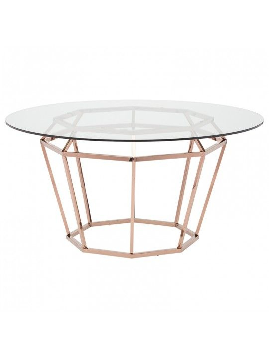 """Diamond 71"""" Dining Table In Clear And Rose Goldnuevo Intended For Modern Gold Dining Tables With Clear Glass (View 5 of 26)"""