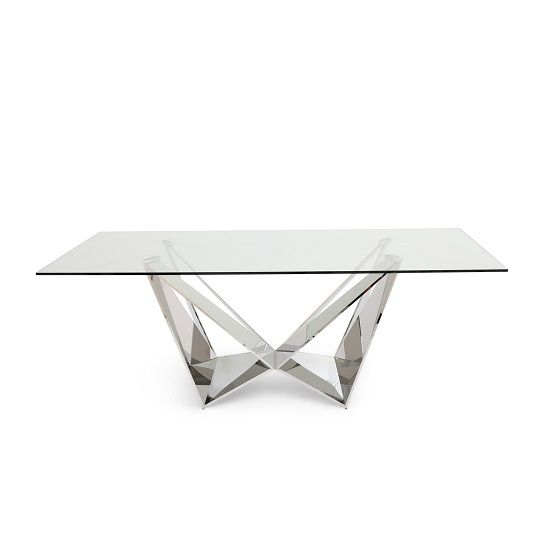 Diego Glass Dining Table In Clear With Stainless Steel Base Within Steel And Glass Rectangle Dining Tables (View 3 of 25)