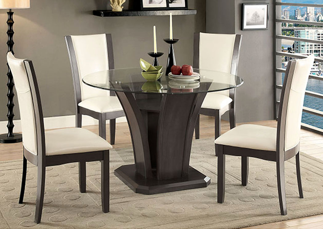 Dinettes Plus Manhattan Gray Round Dining Table W/glass Top Within Round Dining Tables With Glass Top (View 22 of 25)