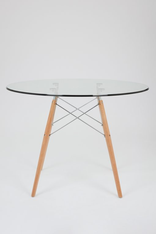 Dining Glass Table With Beechwood Legs (Size: 100Cm Regarding Eames Style Dining Tables With Chromed Leg And Tempered Glass Top (View 6 of 25)
