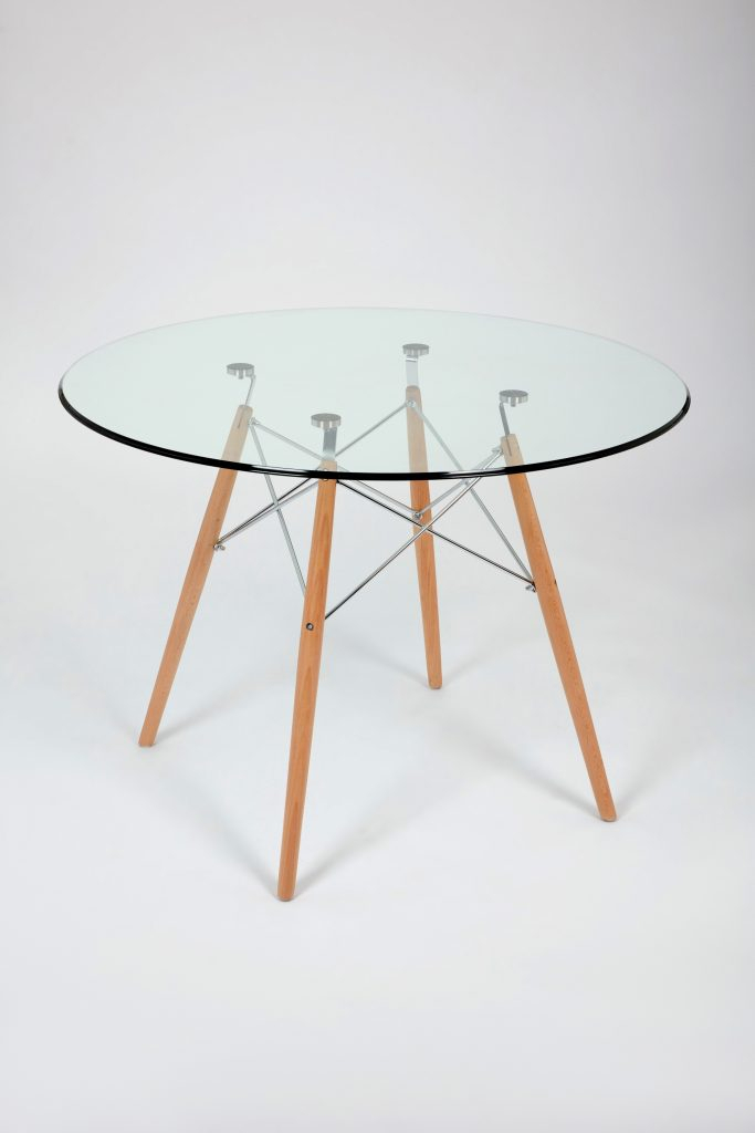 Dining Glass Table With Beechwood Legs (Size: 100Cm With Regard To Eames Style Dining Tables With Chromed Leg And Tempered Glass Top (View 4 of 25)