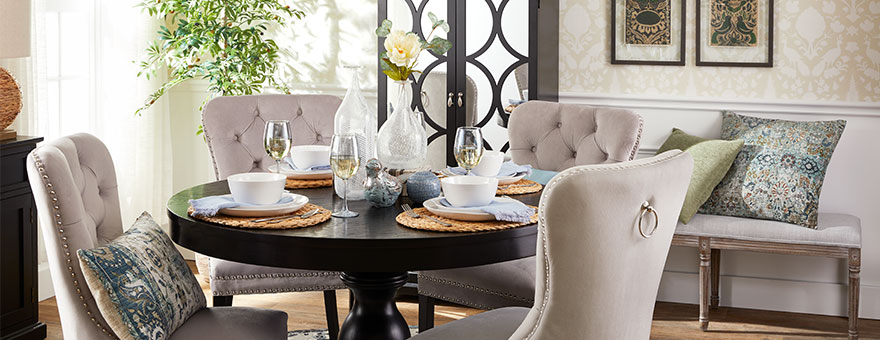 Dining Room Furniture For Every Budget | At Home Inside Vintage Cream Frame And Espresso Bamboo Dining Tables (View 25 of 25)