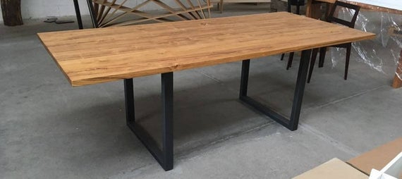 Dining Table, Acacia Solid Wood Top, Steel Base, Made In Italy With Regard To Acacia Wood Dining Tables With Sheet Metal Base (View 11 of 25)