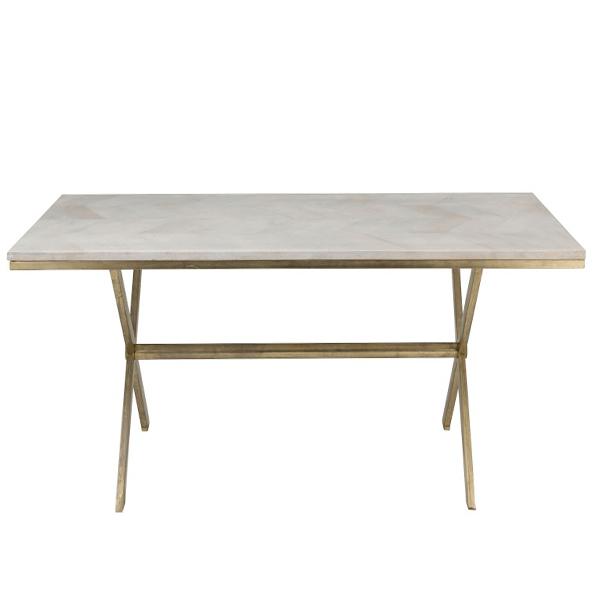 Dining Table Dyca Mango Wood/iron (White/gold) Intended For Iron Dining Tables With Mango Wood (View 17 of 25)