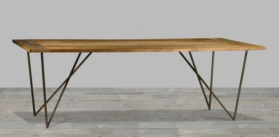 Featured Image of Iron Wood Dining Tables With Metal Legs