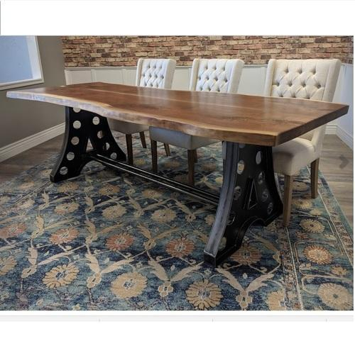 Dining Table Set – Industrial Live Edge Dining Table With Acacia Wood Dining Tables With Sheet Metal Base (View 25 of 25)