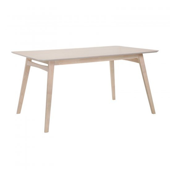 Dining Table Violet 150X90Xh75Cm, Table Top: Mdf With Oak Veneer, Legs And  Frame: Rubber Wood, Color: White Glazed Within Acacia Dining Tables With Black Rocket Legs (Image 13 of 25)