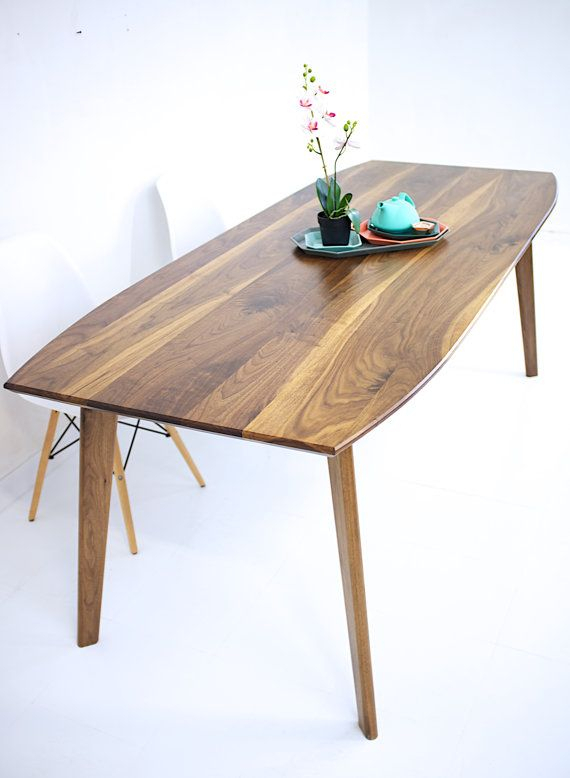 Dining Table, Walnut Dining Table, Modern Walnut Table, Wood Inside Mid Century Rectangular Top Dining Tables With Wood Legs (Image 4 of 25)