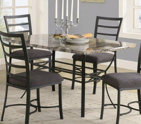 Dining Table With Faux Marble Top In Black Metal Finish Intended For Faux Marble Finish Metal Contemporary Dining Tables (View 3 of 25)