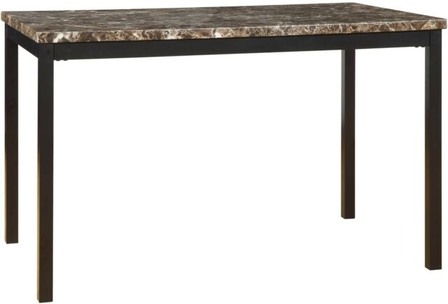 Dining Table With Faux Marble Top Metal Rectangle Home Kitchen Modern  Furniture With Faux Marble Finish Metal Contemporary Dining Tables (View 13 of 25)