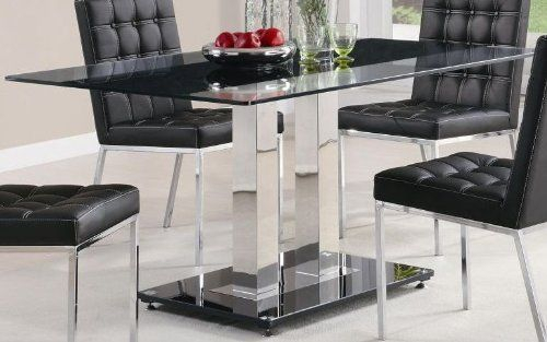 Dining Table With Tempered Glass Top In Chrome Finish Intended For Chrome Dining Tables With Tempered Glass (View 2 of 25)