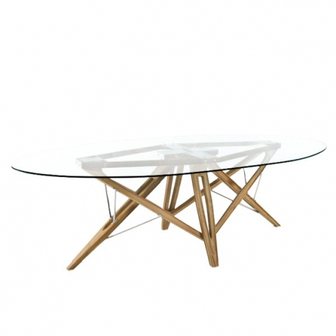 Dining Table With Tempered Glass Top Solid Teak Woodt Feet With Regard To Eclipse Dining Tables (View 23 of 25)