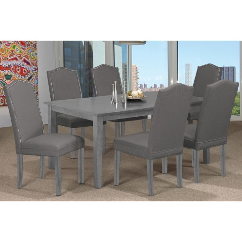 Featured Image of Distressed Grey Finish Wood Classic Design Dining Tables