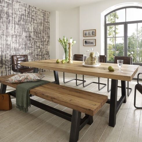 Distressed Wood Table & Bench. Metal Legs (Image 14 of 25)