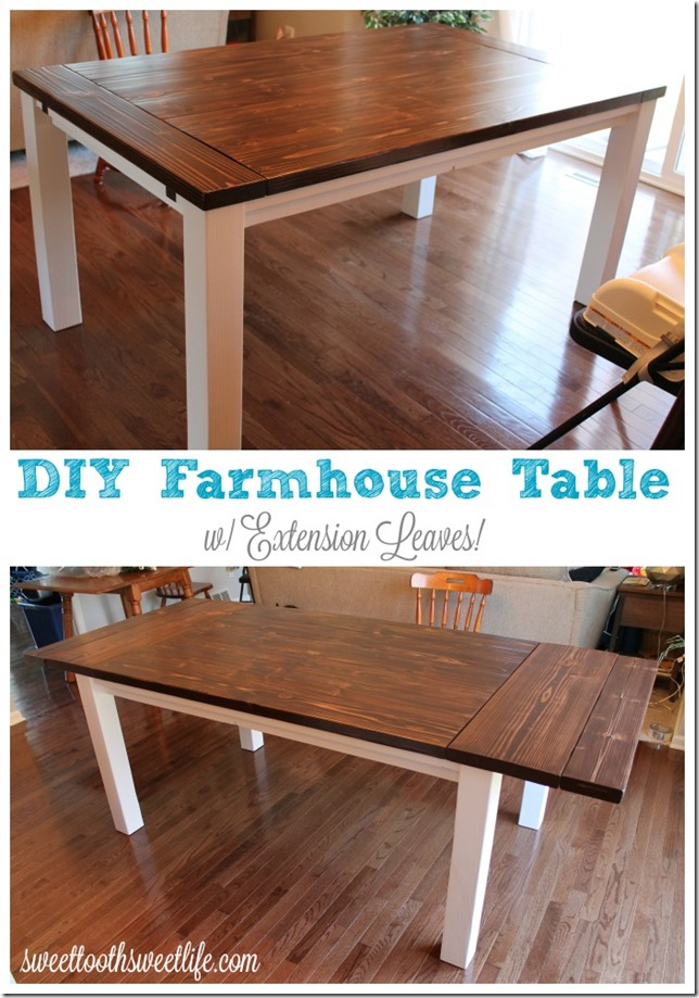 Diy Farmhouse Table With Extension Leaves (With Plans For Wood Kitchen Dining Tables With Removable Center Leaf (View 20 of 25)