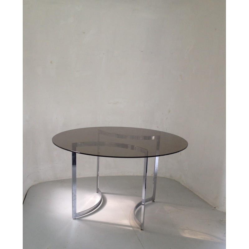 Dom Round Dining Table In Hardened Glass And Steel, Paul Legeard – 1970S With Dom Round Dining Tables (Image 14 of 25)