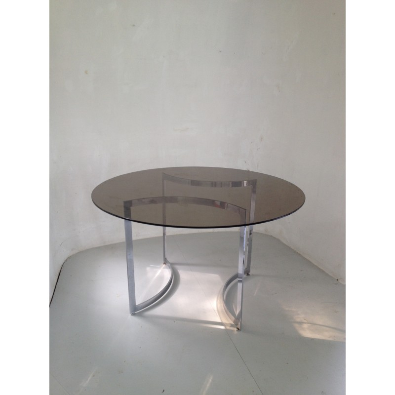 Dom Round Dining Table In Hardened Glass And Steel, Paul Legeard – 1970S With Regard To Dom Round Dining Tables (Image 16 of 25)