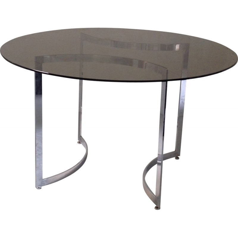Dom Round Dining Table In Hardened Glass And Steel, Paul Legeard – 1970S With Regard To Dom Round Dining Tables (Image 15 of 25)